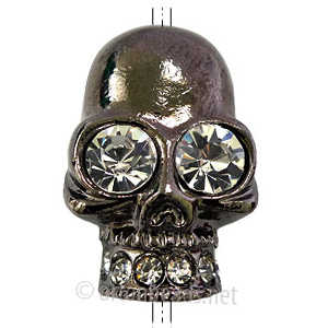 *Metal Skull Bead With Crystal - Gun Metal Plated - 25x40mm - 1p