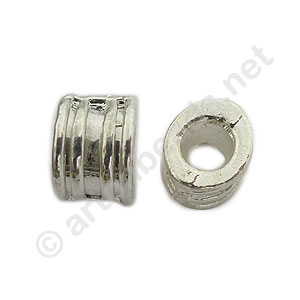 Large Hole Metal Bead - 6x9.8mm - 8pcs