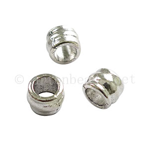 Large Hole Metal Bead - Antique Silver Plated - ID 4.3mm-20pcs