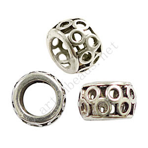 Large Hole Metal Bead - Antique Silver Plated - ID 7.6mm - 6pcs