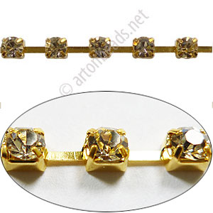 Rhinestone Chain - 18K Gold Plated - 3.7x3.8mm - 2Y