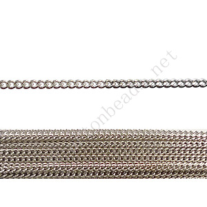 Chain(145SF) - White Gold Plated - 1.45x1.8mm - 2m