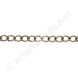 *Chain(0.6SBS) - Antique brass Plated - 3.4x4.4mm - 2m