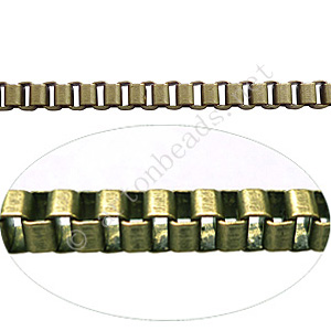 Chain(Box3.0A) - Antique brass Plated - 3x3mm - 1m