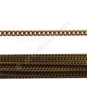 *Colored Metal Chain(160SF) - Antique Brass Plated - 2x2mm - 2m