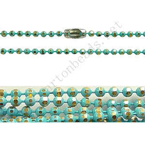 Colored Metal Faceted Ball Chain - Turquoise - 1.5mm - 1m
