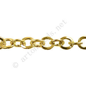 Chain - 18K Gold Plated - 6x6mm - 1m