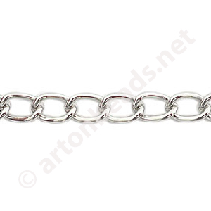 Chain(J1.4+) - White Gold Plated - 5.5x8.1mm - 1m