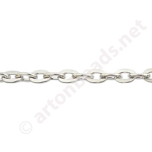 Chain(1.0+A) - White Gold Plated - 3.8x5.6mm - 2m