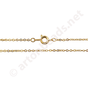 "Link Chain with Clasp-18K Gold Plated(1.5x2mm)-18""-3pcs"