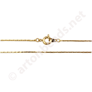 "Snake Chain with Clasp-18K Gold Plated(0.87mm)-24""-2pcs"