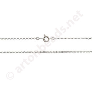 "Link Chain with Clasp-White Gold Plated(1.63x2mm)-18""-12pcs"