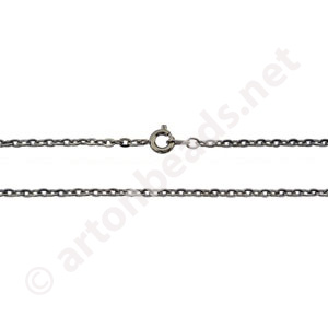"Link Chain with Clasp-Gun Metal Plated(2.30x3.35mm)-18""-3pcs"