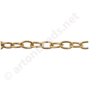 Link Chain(#280B) -18K Gold Plated - 3.99x6.00mm - 1m