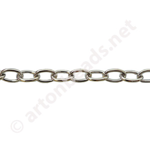 Link Chain(#280) - White Gold Plated - 4.13x6.00mm - 1m