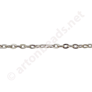 Link Chain(#250F) - White Gold Plated - 1.95x3.00mm - 1m
