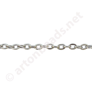 Link Chain(#260F) - White Gold Plated - 2.35x3.45mm - 25F