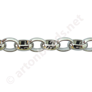 *Link Chain - White Gold Plated - 5.62x7.16mm - 1m
