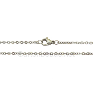 "Link Chain(260)with Clasp-Stainless Steel(2x3.2mm)-19""-10pcs"