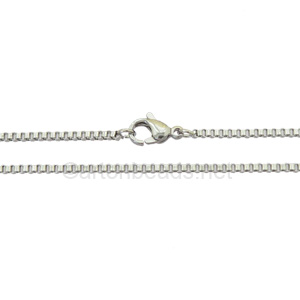 "Box Chain with Clasp-Stainless Steel(1.7mm)-20""-1 pc"