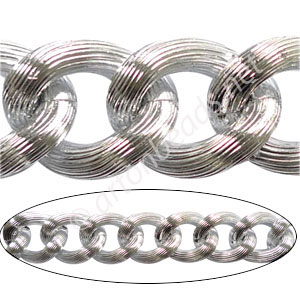 Aluminum Chain(#3) - 925 Silver Plated - 17.6x21.3mm - 1M