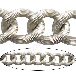 Aluminum Chain(#3) - Matte Silver Plated - 17.6x21.3mm - 1M