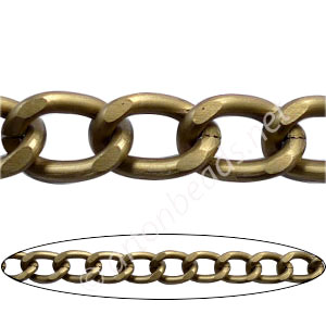 Aluminum Chain(#7) - Antique Brass Plated - 10x15mm - 1M