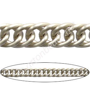 Aluminum Chain(#8) - Matte Silver Plated - 10.2x14.1mm - 1M