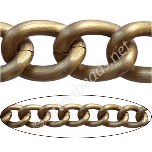 Aluminum Chain(#18) - Antique Brass Plated - 15.2x20.5mm - 1M