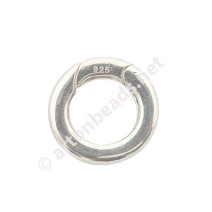 Sterling Silver Spring Clasp ( Shortener ) - Round - 16mm - 1pc