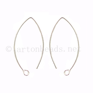Sterling Silver Earring Hook - Oval - 30x13mm - 4pcs