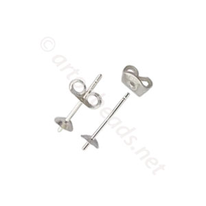 Sterling Silver Earring Post - Cup Stud - 4mm - 6pcs