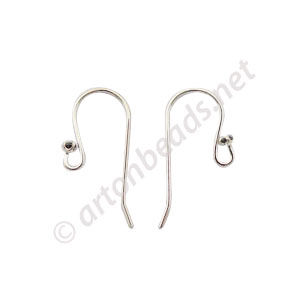 Sterling Silver Earring Hook - Black Crystal - 11mm - 4pcs