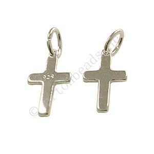 Sterling Silver Charm - Cross - 8x13mm - 2pcs