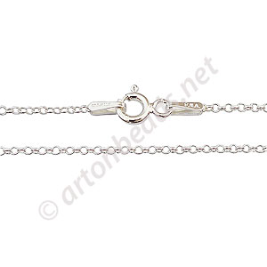 "Sterling Silver Pre-made Chain - 1.4mm Rolo - 16"" - 1 Strand"