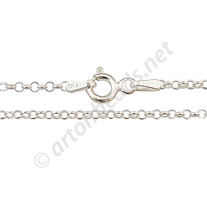 "*Sterling Silver Pre-made Chain - 2.0mm Rolo - 16"" - 1 Strand"