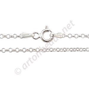 "Sterling Silver Pre-made Chain - 1.6mm Rolo - 18"" - 1 Strand"