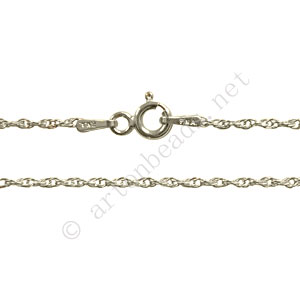 "*Sterling Silver Pre-made Chain - Twist Thin - 16"" - 1 Strand"