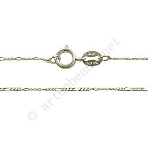 "Sterling Silver Pre-made Chain - Flat Long - 16"" - 1 Strand"