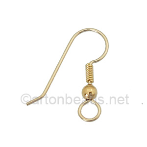 14K Gold Filled Earring Hook - Coil & Ball - 20.60 mm - 4pcs