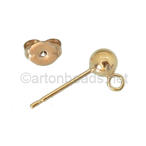 14K Gold Filled Earring Post - Ball - 4mm - 2pcs