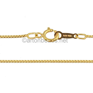 "*14K Gold Filled Pre-made Chain - 0.8mm Box - 18"" - 1 Strand"