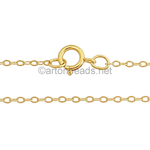 "14K Gold Filled Pre-made Chain - 1.2mm Flat Oval - 18"" - 1 Stran"
