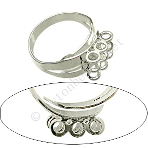 Ring Base 925 Silver Plated - Adjustable - 20pcs