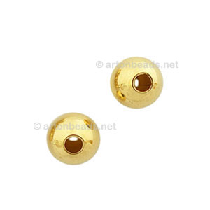 Brass Base Beads - 18k Gold Plated - 5mm - 300pcs