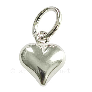 Sterling Silver Charm - Puff Heart - 11x9mm - 1pc