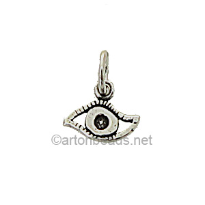Sterling Silver Charm - Eye - 8x9mm - 2pcs