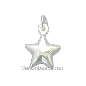 Sterling Silver Charm - Star - 10x13mm - 2pcs