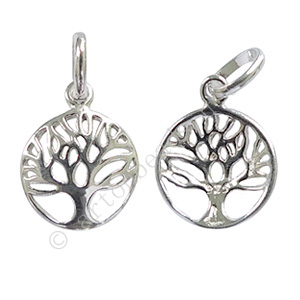 Sterling Silver Charm - Tree - 12mm - 1pc