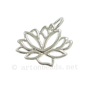 Sterling Silver Charm - Lotus- 13x16mm - 1pc